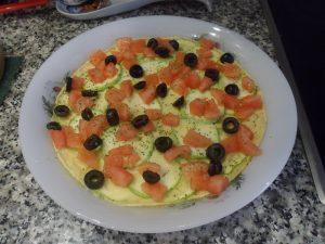 Quiche al Microondas de calabacín - tomate y aceitunas