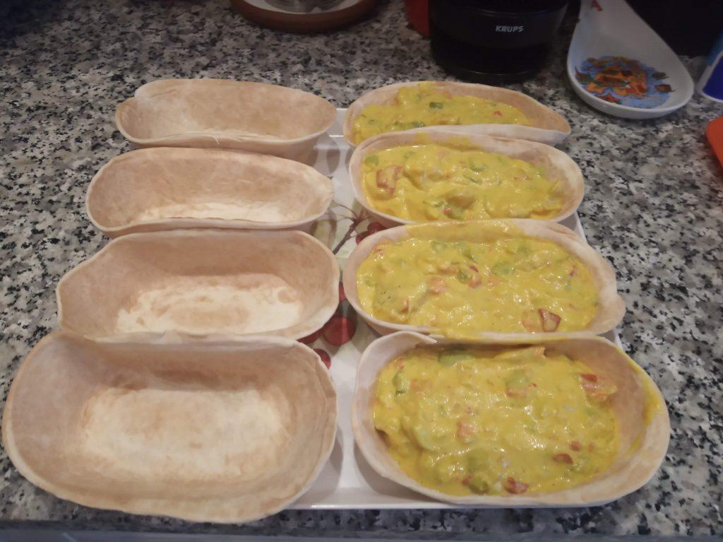 Fajitas o barquitas con pollo y pimientos