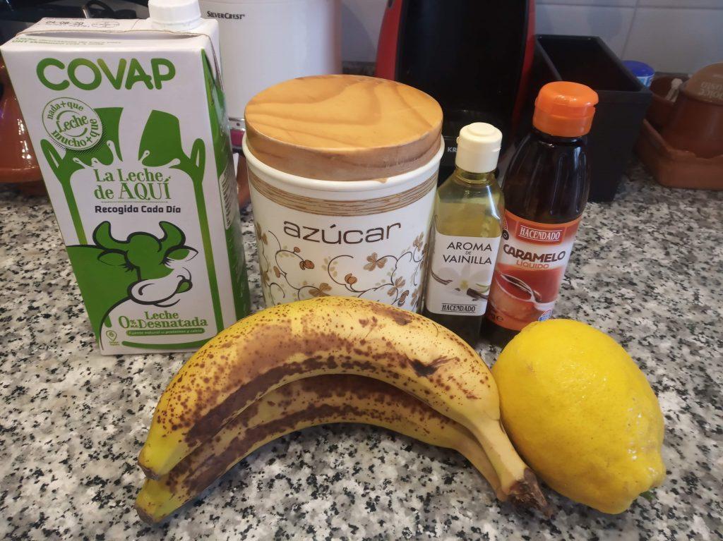 Flan de huevo y plátano