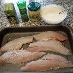 Filetes de gallineta al horno con crema soja y alioli